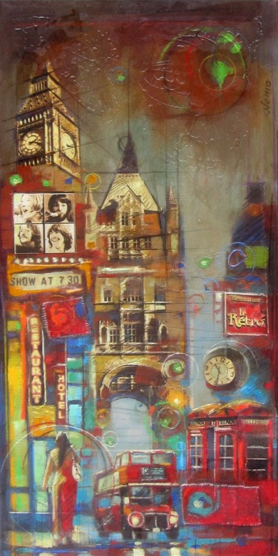 Le rétro at night, 48 x 24 in, mixed media by Nemo