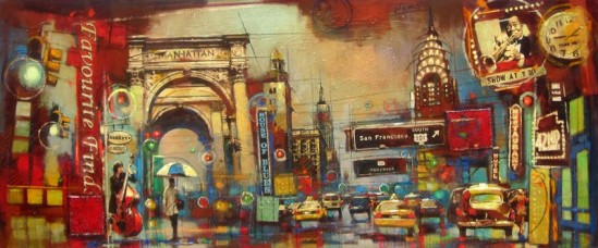42nd street, 30 x 72 in, mixed media by Nemo